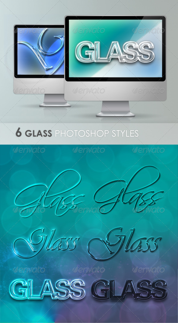 Glass Layer Styles for Photoshop - Text Effects Styles