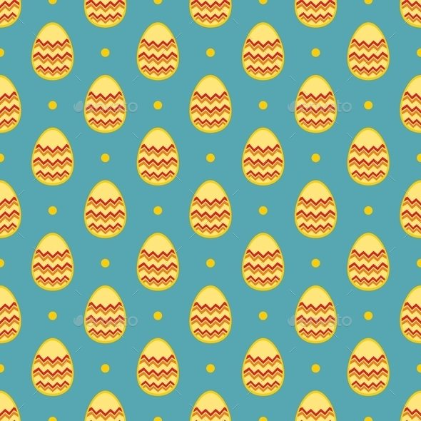 Tile Pattern With Easter Eggs And Polka Dots On Blue Background Stock Photo By Ingalinder