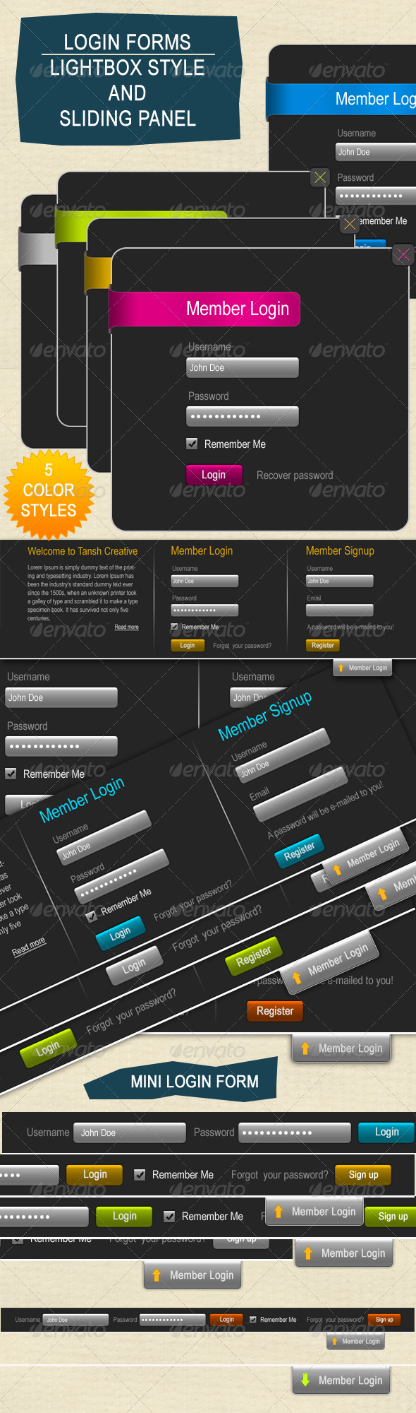 GraphicRiver Lightbox & Sliding Panel Type Login Forms 135299