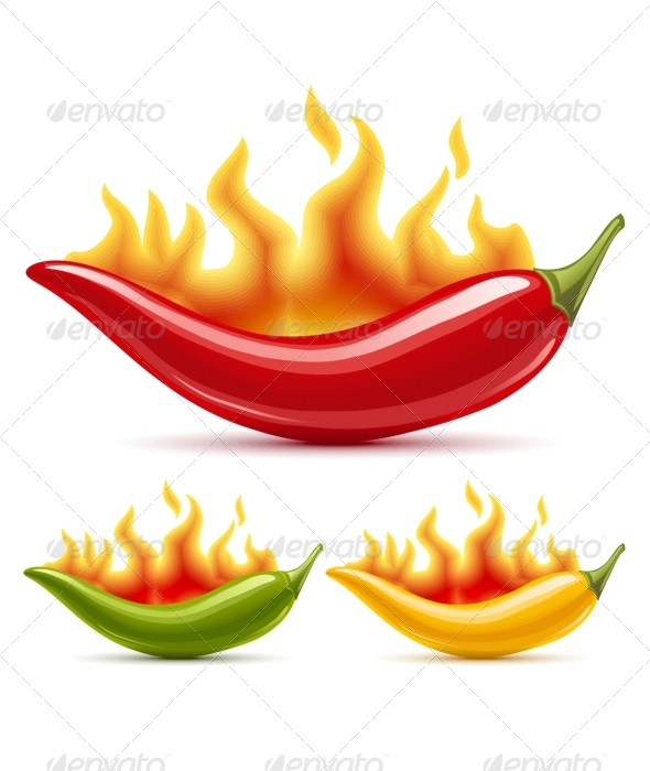 GraphicRiver Green yellow and red hot chili peppers 135425