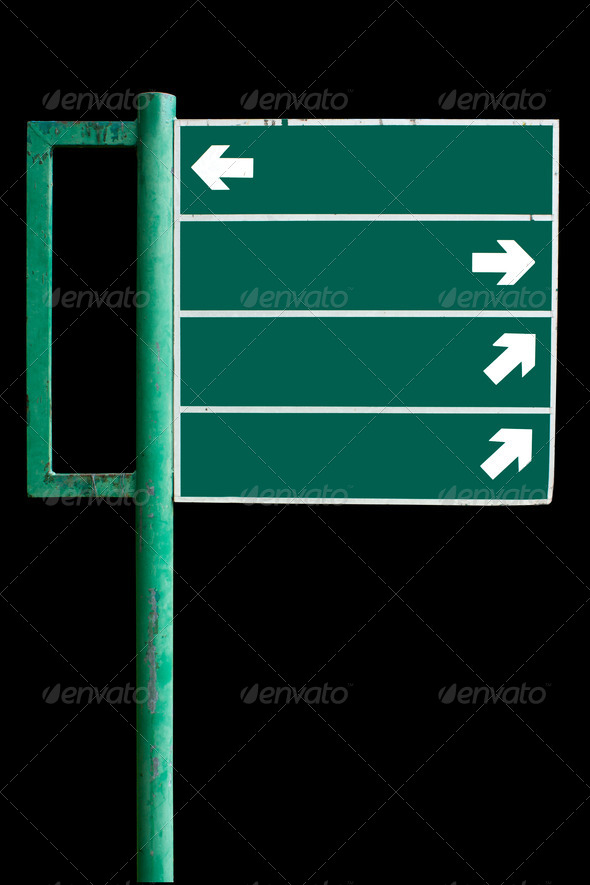 Signs advertising the green. - Stock Photo - Images