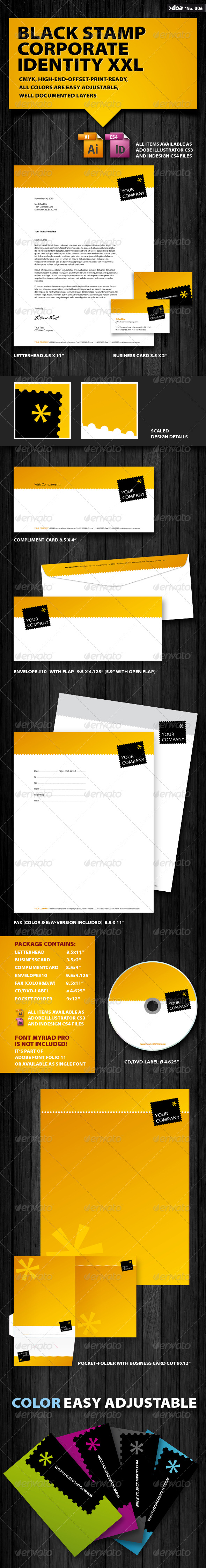 Black Stamp Corporate Identity XXL - Stationery Print Templates
