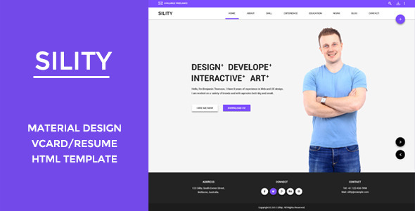 sility vcard cv resume html template virtual business card personal