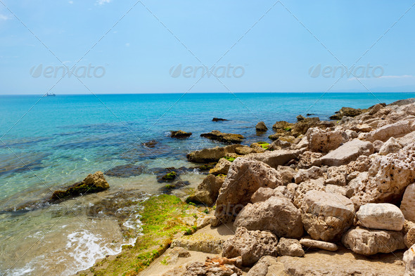 Mediterranean sea coast. Nice France. - Stock Photo - Images