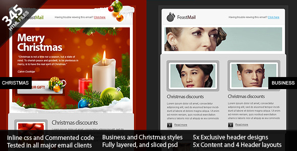 ThemeForest FeastMail Christmas and Corporate Email Template 136232
