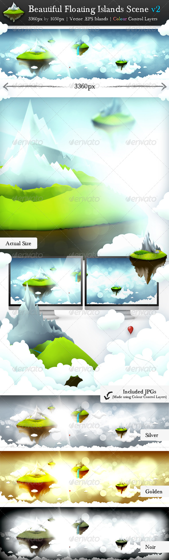 Beautiful Floating Islands Scene v2 - Nature Backgrounds