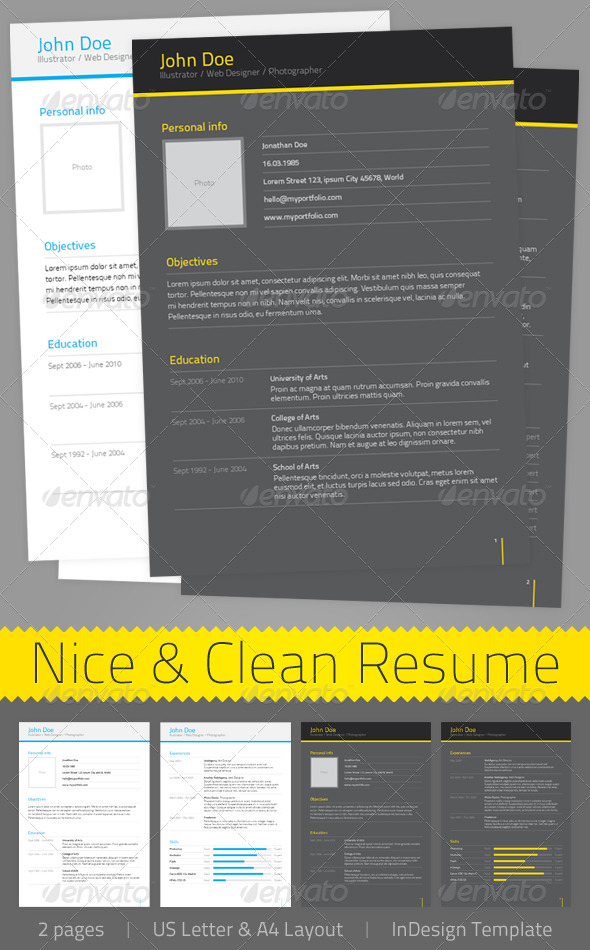 GraphicRiver Nice & Clean Resume 135403