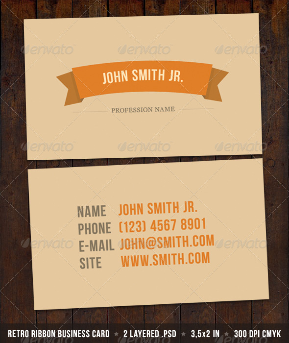 Retro Ribbon Business Card - Retro/Vintage Business Cards