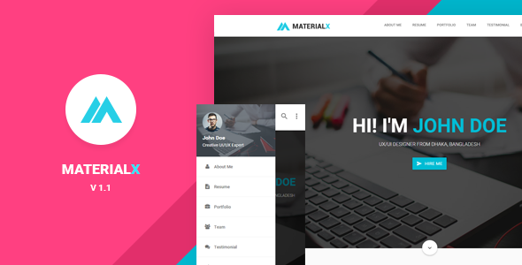Materialx Material Design Personal Template By Bdinfosys