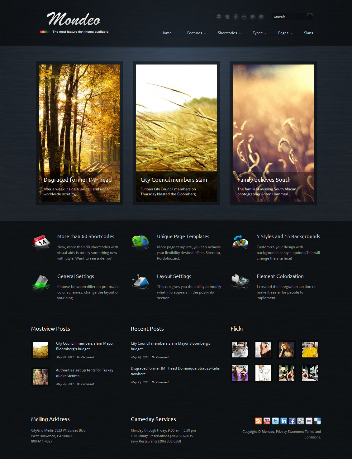 Mondeo Corporate & Portfolio WordPress Theme - The homepage template 2.