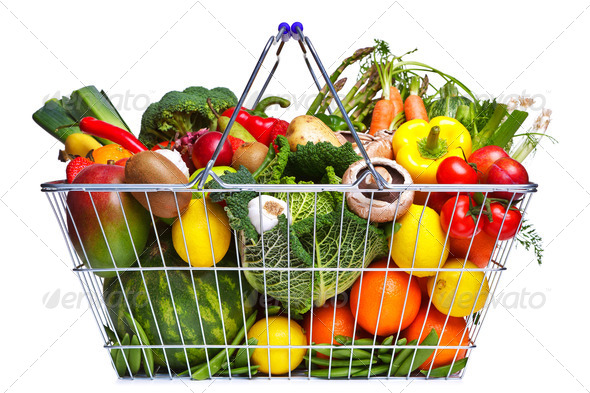 PhotoDune Shopping basket fruit and vegetables isolated on white 1106246