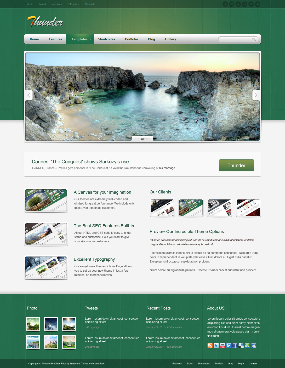 Thunder Corporate & Portfolio WordPress Theme - The homepage template 4.