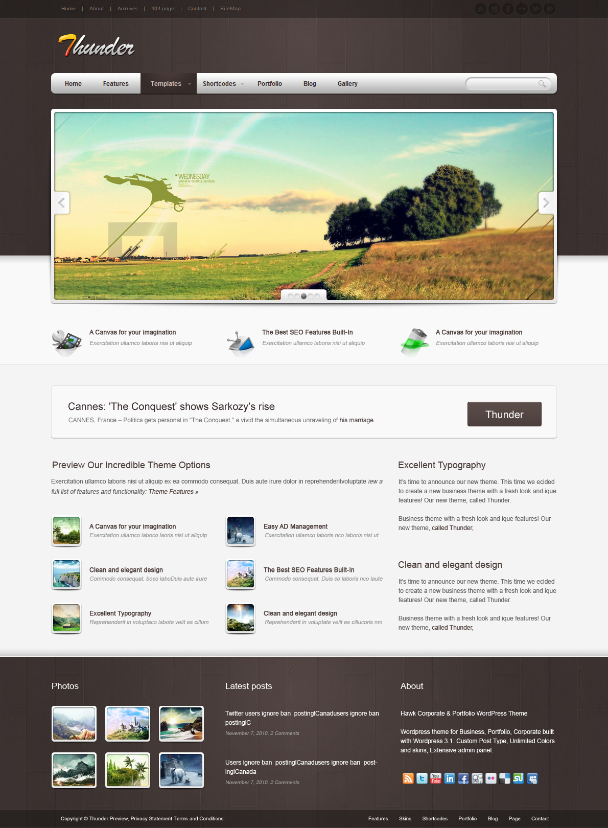 Thunder Corporate & Portfolio WordPress Theme - The homepage template 5.