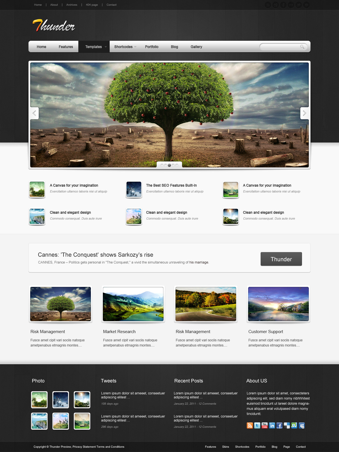 Thunder Corporate & Portfolio WordPress Theme - The homepage template 6.