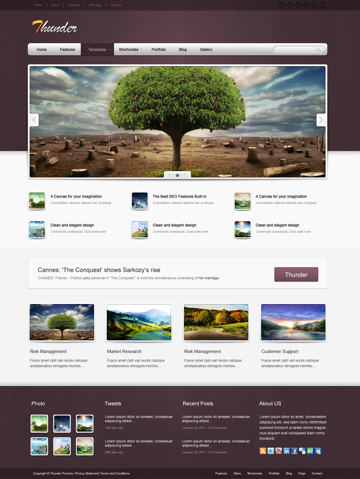 Thunder Corporate & Portfolio WordPress Theme - The homepage template 8.
