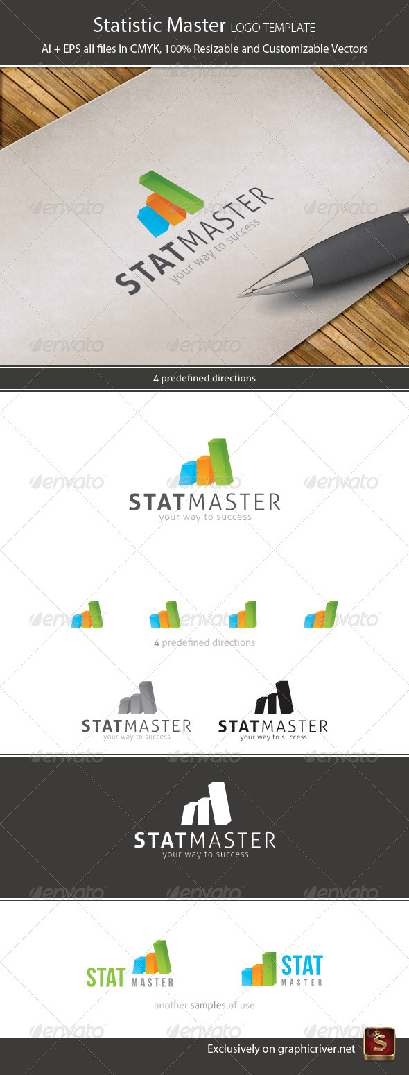 Statistics 4in1 Logo Template - Vector Abstract