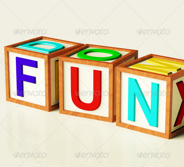 Kids Blocks Spelling Fun As Symbol for Enjoyment And Playing - Stock Photo - Images