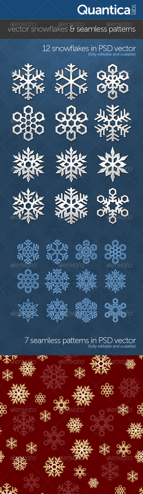 Vector Snowflakes With Seamless Patterns - Decorative Graphics