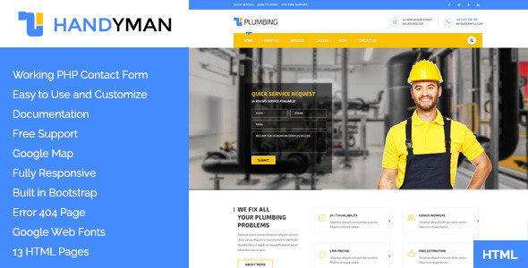 Handyman Construction Building Amp A Plumbing Html Template
