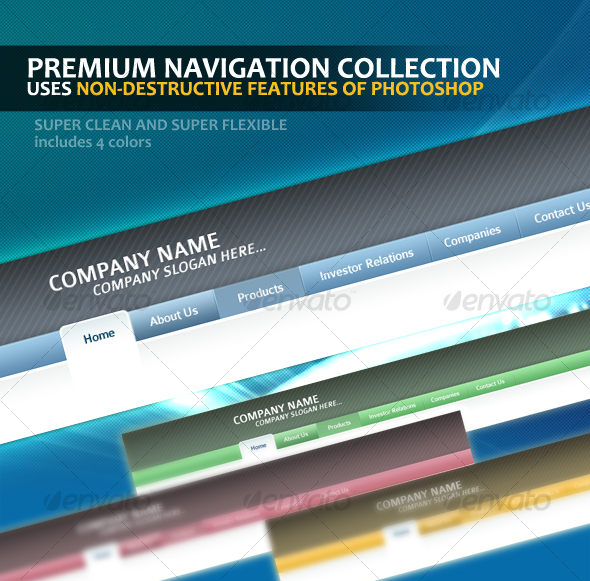 Premium Navigation Template Collection - Navigation Bars Web Elements
