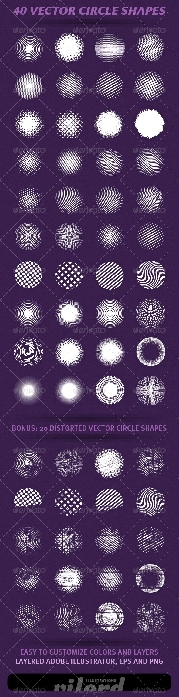 40 Vector Circle Shapes - Decorative Symbols Decorative
