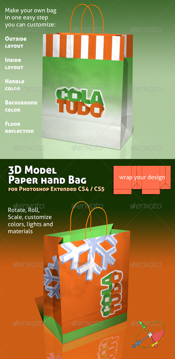GraphicRiver 3D Object 01 Paper Bag Mock-up 137359