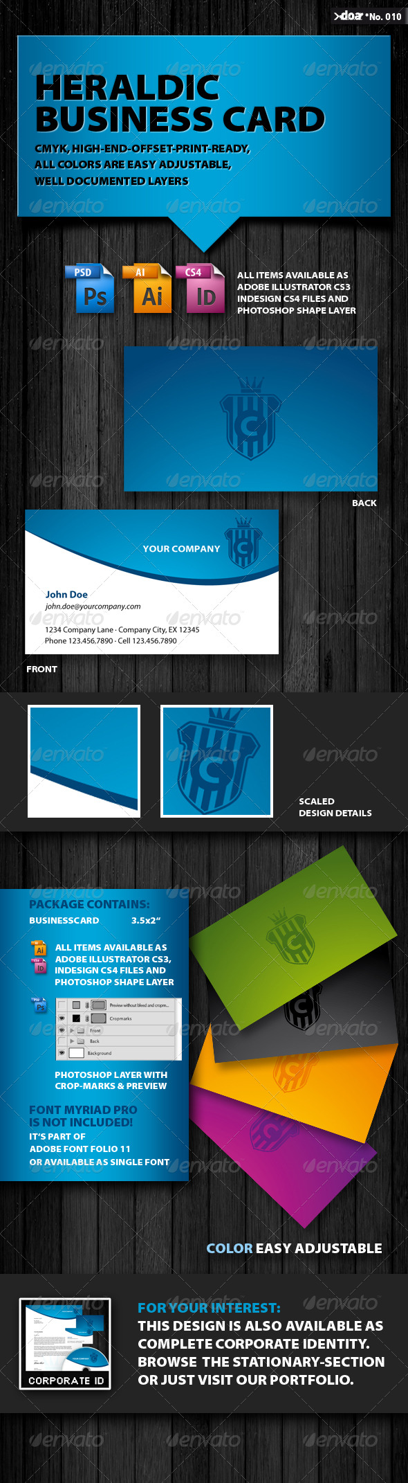 Heraldic Business Card - Corporate Business Cards
