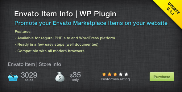 Envato Items Info Wordpress Plugin - CodeCanyon Item for Sale