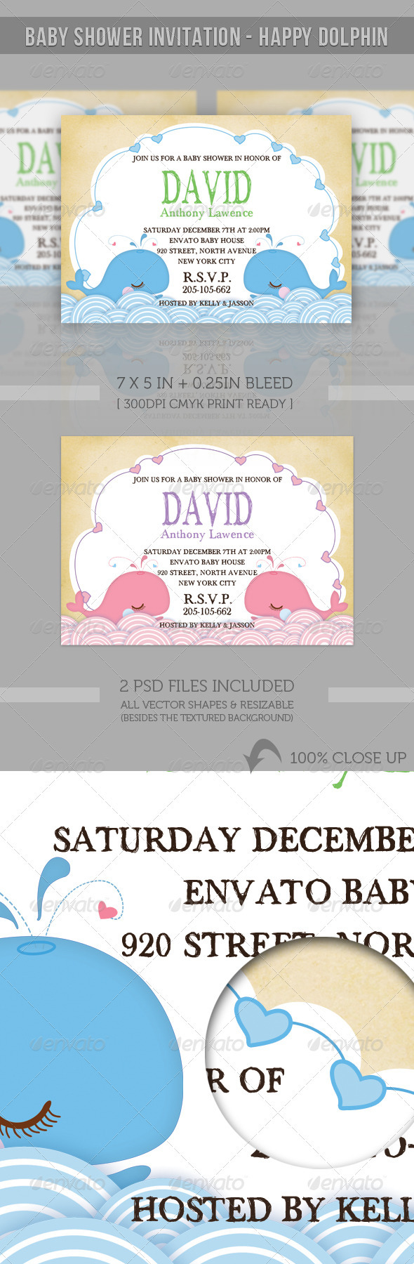 GraphicRiver Boy Girl Baby Shower Lovely Whale 1128413