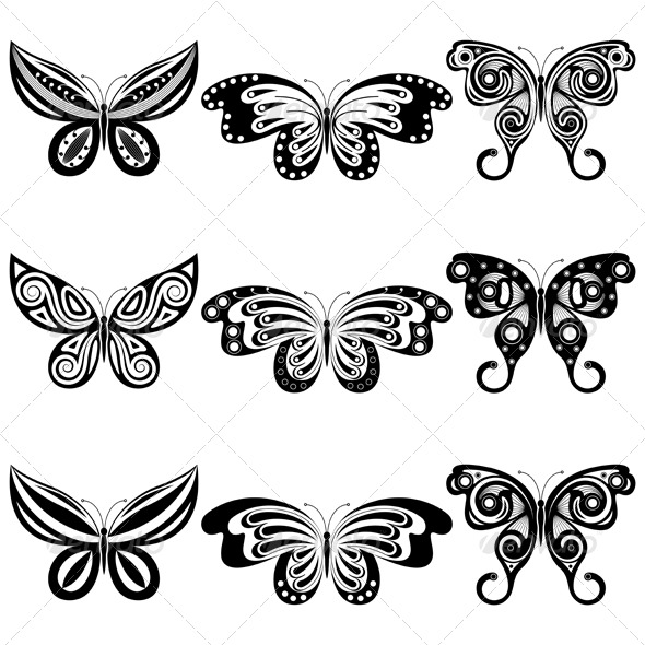 GraphicRiver Set of butterflies 139401