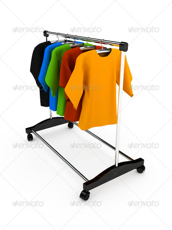 Hanger with clothes any color - Stock Photo - Images