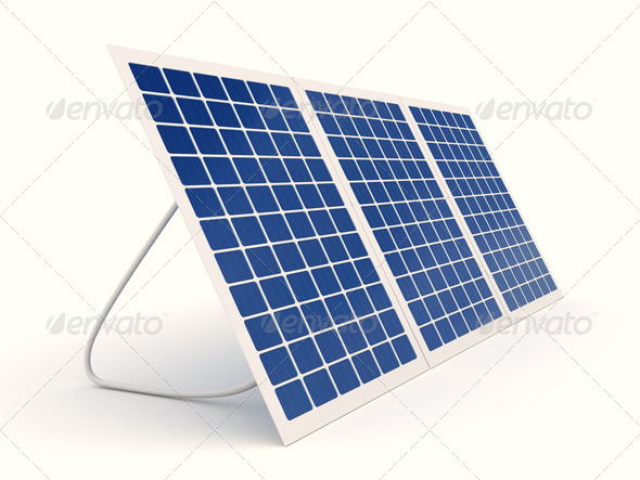Solar panel over white - Stock Photo - Images