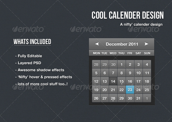 Cool Calendar Design - Tables Web Elements