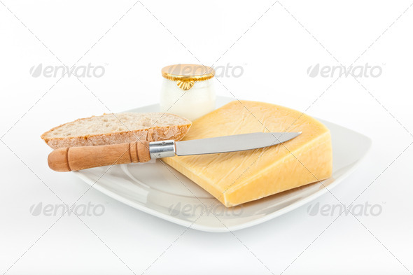 Traditional bread and cheese with yogurt . - Stock Photo - Images