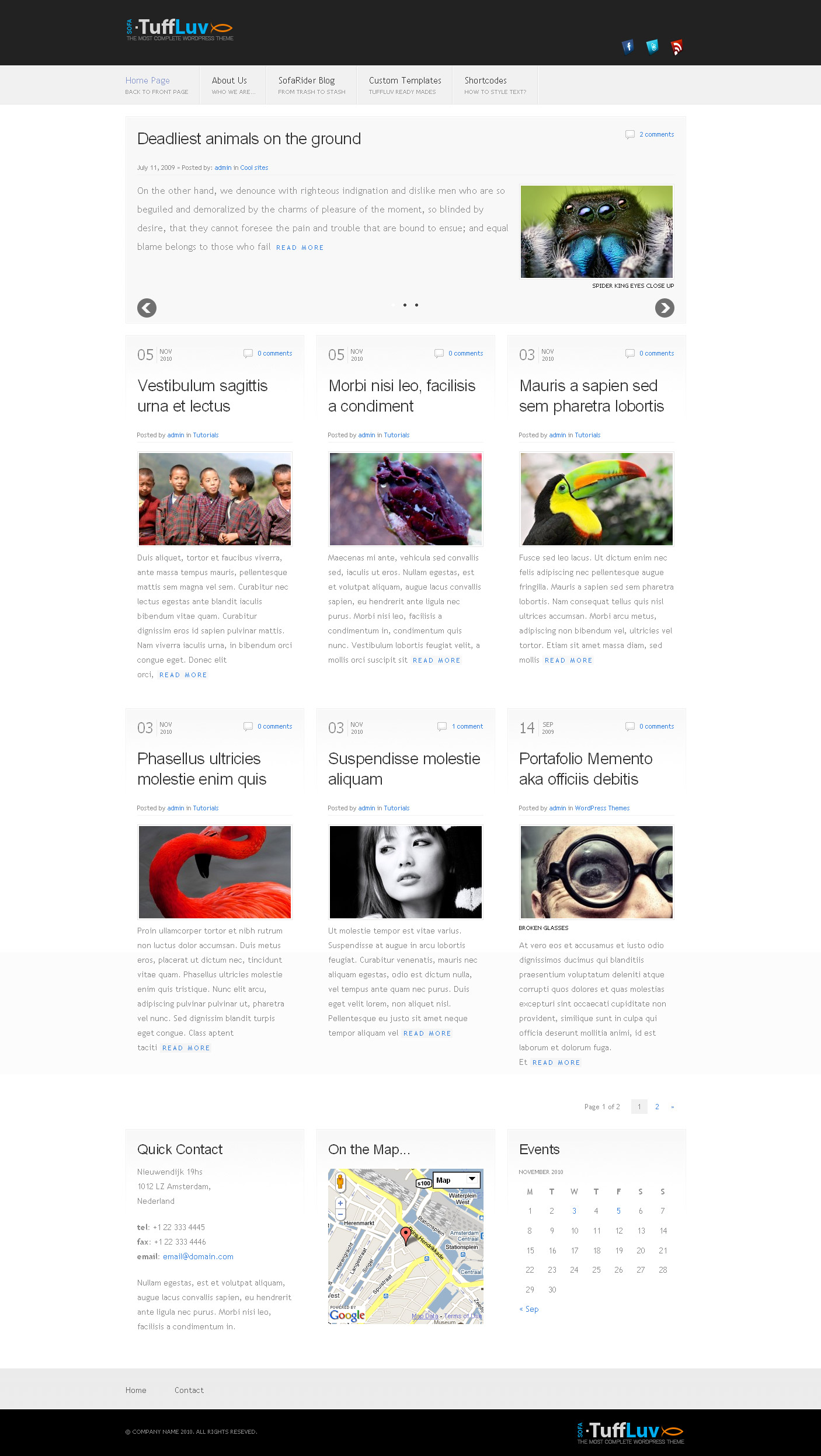 Sofa TuffLuv - WP Premium Theme - Homepage layout Grid.