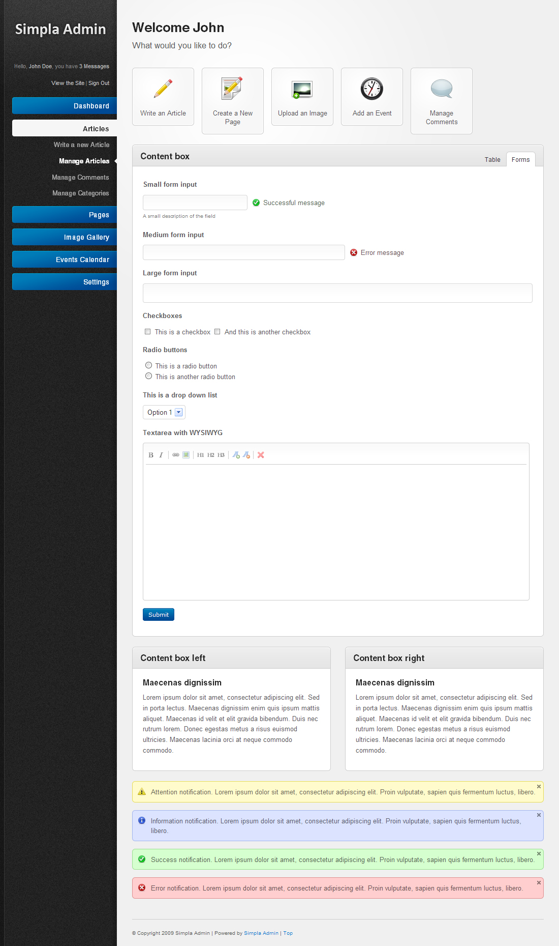 Simpla Admin - Flexible & User Friendly Admin skin - The blue version of the main template with the forms shown.