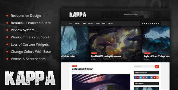 Kappa A Gaming Wordpress Theme By Phpface Themeforest