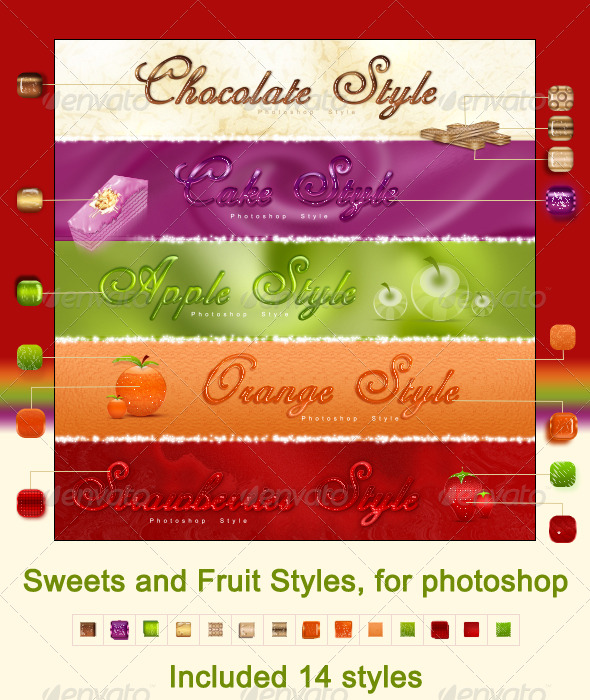 GraphicRiver Sweets and Fruit styles for photoshop 140229