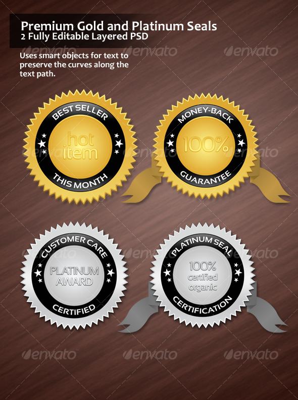 GraphicRiver Premium Gold and Platinum Seals 46277