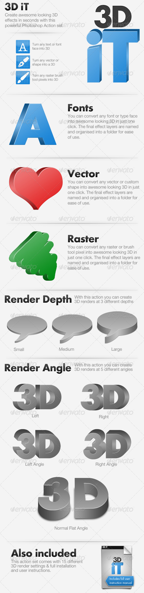 3D iT - 15 3D Rendering Actions - Photoshop Add-ons