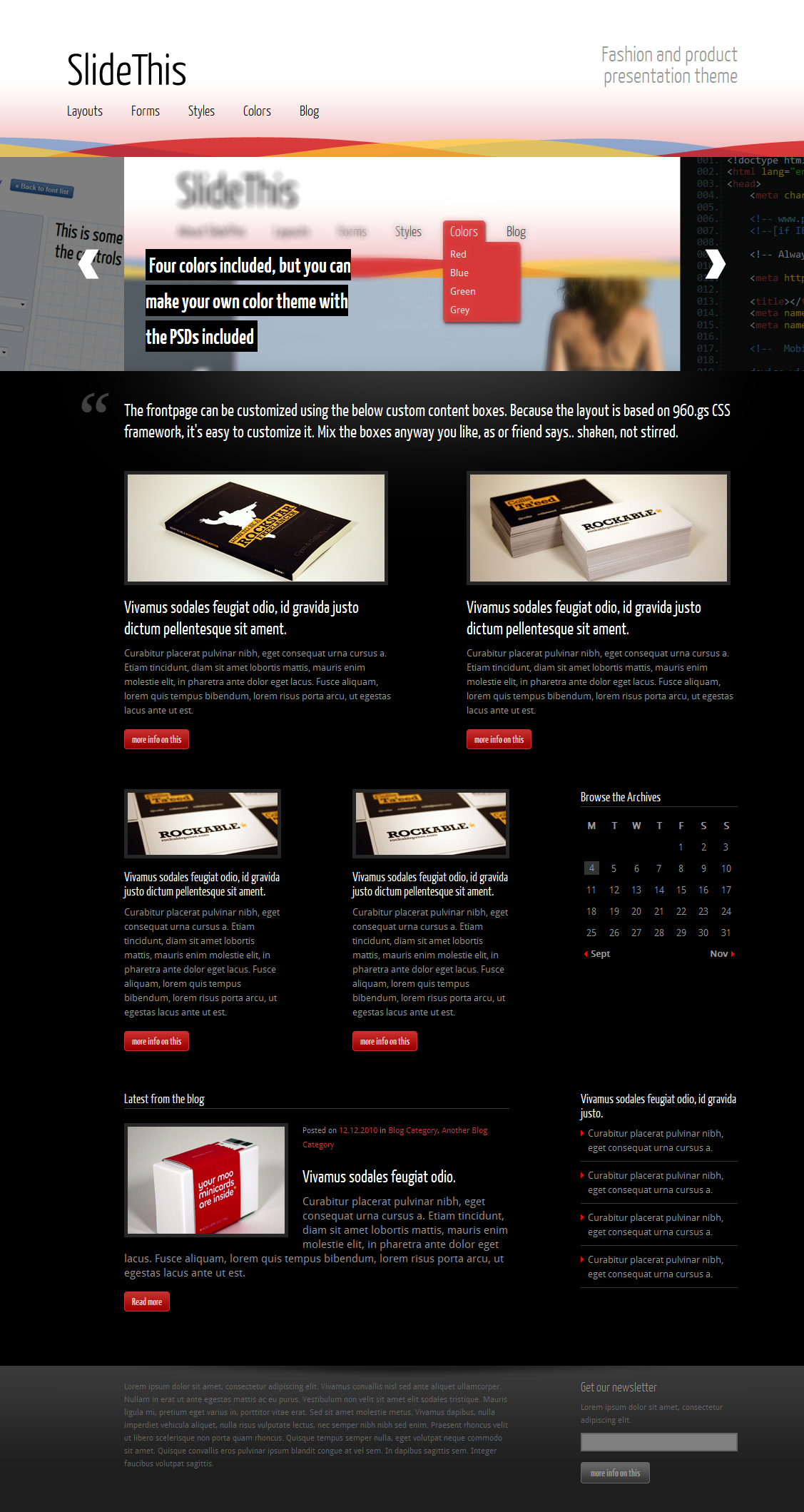 SlideThis - creative business and product theme - Main frontpage with the slider and information content boxes.
