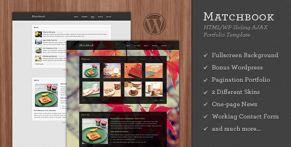 Matchbook - One Page Template with Bonus WP