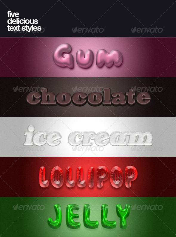 Five delicious text styles - Text Effects Styles