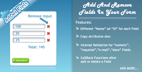 JQuery AdDelFields - CodeCanyon Item for Sale