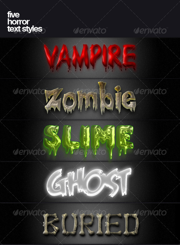 Five Horror Text Styles - Text Effects Styles
