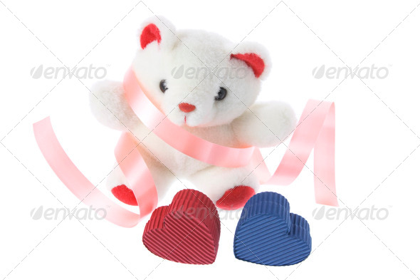 Teddy Bear and Gift Boxes - Stock Photo - Images