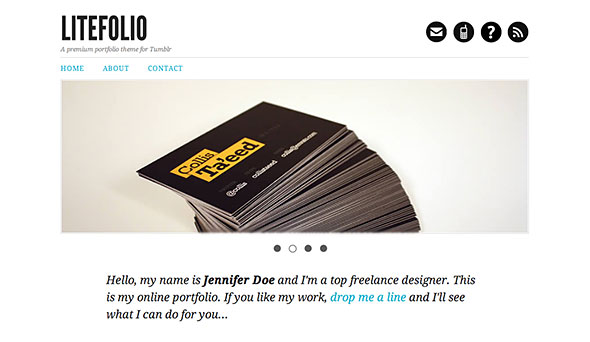 Litefolio - portfolio theme for Tumblr - Intro image