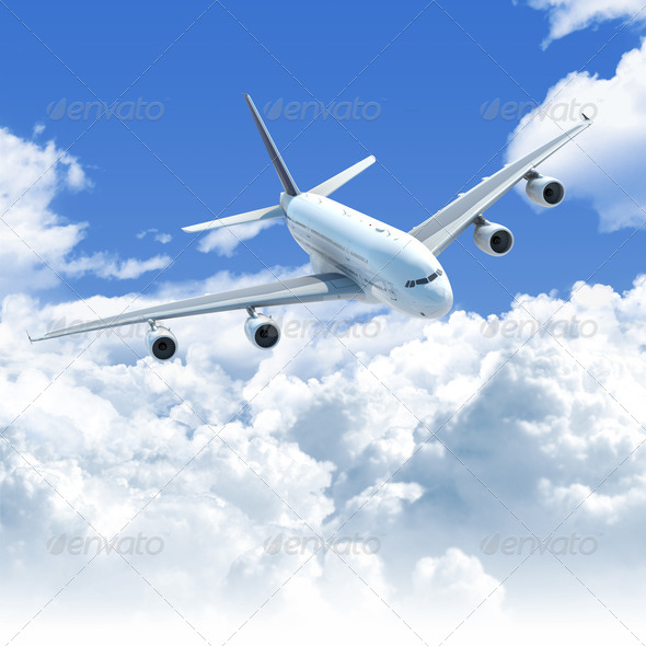 Stock Photo - PhotoDune airplane flying over the clouds front top view 1150478