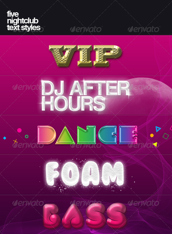 Five nightclub text styles - Text Effects Styles