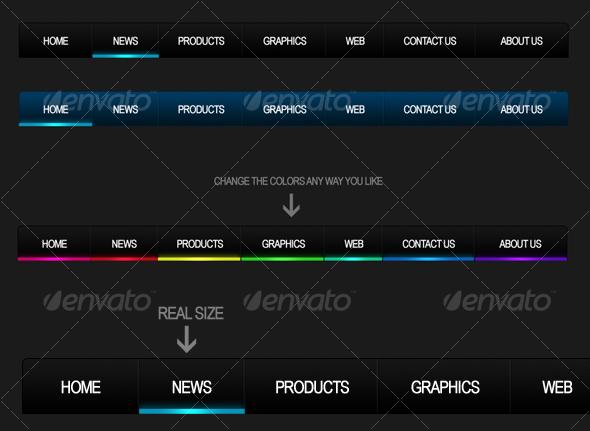 GraphicRiver Into The Night Stylish Web 2.0 Navigation 38215